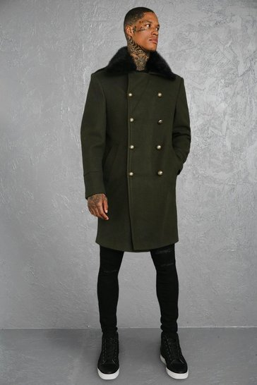 Khaki Faux Fur Collar Military Style Overcoat