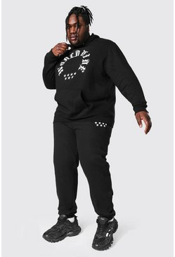 Plus Size Worldwide Gothic Hooded Tracksuit, Black noir
