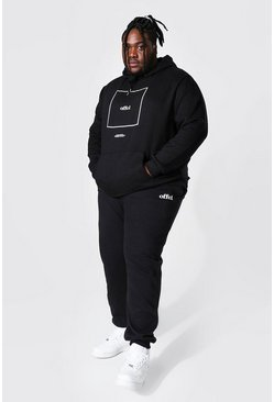 Black Plus Size Offcl Box Print Hooded Tracksuit
