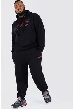 Black Plus Size Atlanta Varsity Hooded Tracksuit