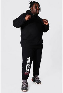 Black Plus Size Official Graffiti Hooded Tracksuit