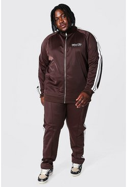 Chocolate brown Plus Man Funnel Neck Tricot Tape Tracksuit