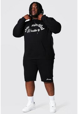 Plus Size Stay Mindful Hooded Short Tracksuit, Black schwarz
