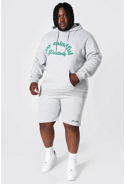 Grey marl grey Plus Size Stay Mindful Short Tracksuit