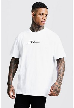 White Oversized MAN Signature Embroidered T-Shirt