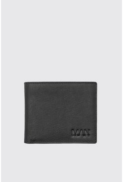 Black Real Leather MAN Emboss Saffiano Wallet