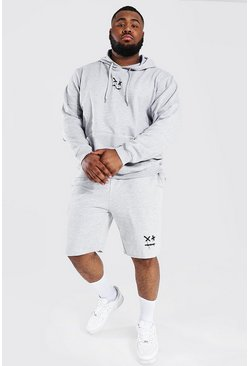 Plus Size Drip Face Short Hooded Tracksuit, Grey marl grau