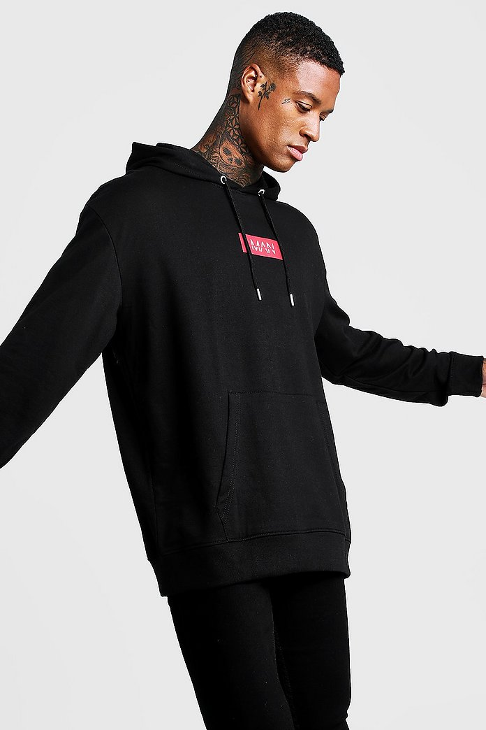 Oversized MAN Red Box Hoodie | Boohoo UK