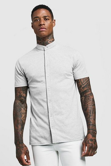 Grey Muscle Fit Short Sleeve Grandad Jersey Shirt