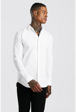 White vit Muscle Fit Long Sleeve Shirt