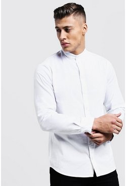 White vit Muscle Fit Grandad Collar Long Sleeve Shirt