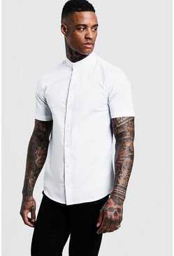 Wit white Muscle fit-shirt met korte mouwen en opa-kraag