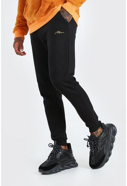 Black MAN Signature Skinny Fit Jogger