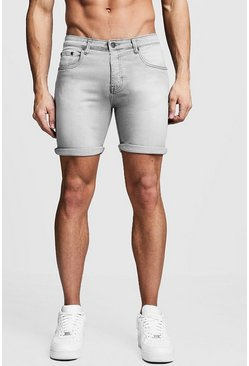 Grijs grey Grijze Stretch Skinny Fit Denim Shorts
