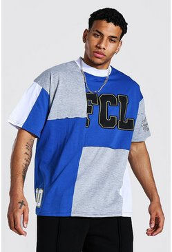 Oversized Official Patchwork Varsity T-shirt, Blue azzurro