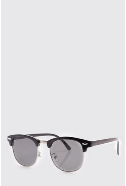 Black Retro Silver Frame Sunglasses