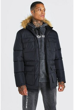 Black Multi Pocket Quilted Parka with Faux Fur Hood