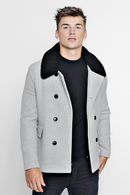 Men's Coats & Jackets Borg Collar Wool Blend Pea Coat