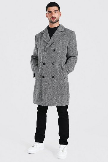 Black Wool Blend Herringbone Double Breasted Overcoat