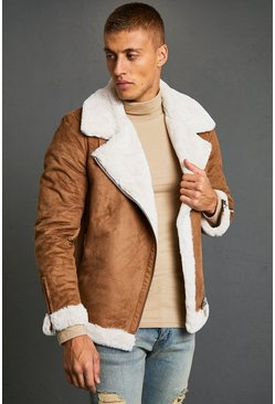 Tan brown Faux Fur Lined Suede Aviator
