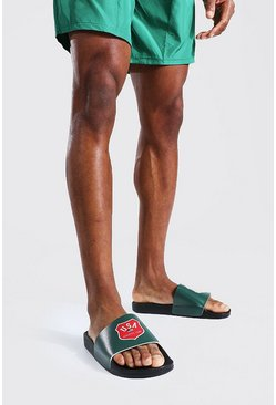 Green Man Sloped Branded Sliders