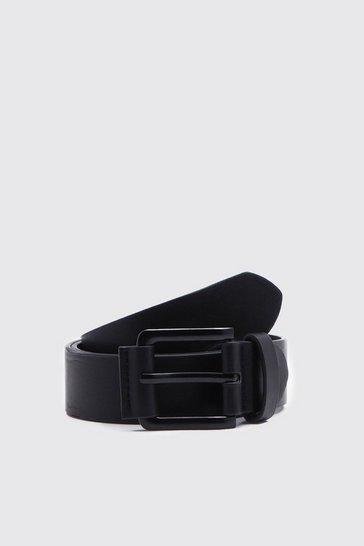 Black PU Belt With Matte Black Buckle