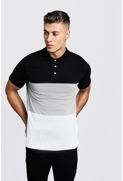 Silver Colour Block Short Sleeve Polo Shirt
