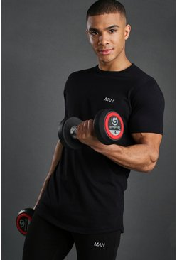 Black svart Short Sleeve Active Gym T-Shirt