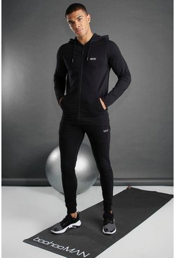 Black svart Skinny Fit Active Hooded Gym Tracksuit
