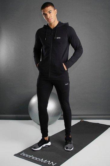 Black Skinny Fit Active Hooded Gym Tracksuit