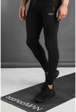 Zwart black Active Skinny Fit  Fitness Joggingbroek Met Ritszakken