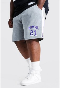 Grey marl Plus Homme Varsity Jersey Short
