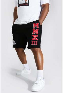 Black Plus Varsity Mid Length Jersey Short