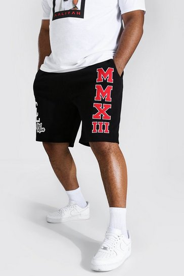 Black Plus Varsity Mid Length Jersey Short