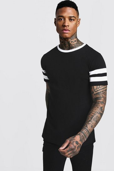 Black Contrast Panel Short Sleeve T-Shirt