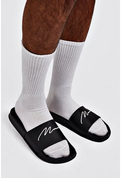 Zwart black MAN Script slippers