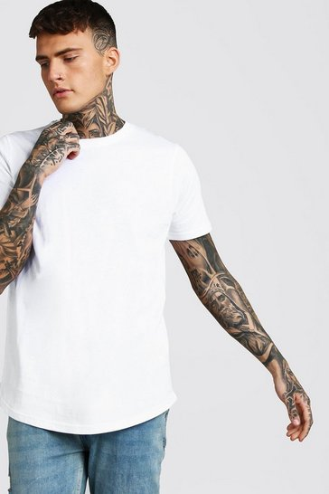 White Short Sleeve Longline T Shirt with Curve Hem