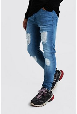 Washed blue blue Super Skinny Jeans With Distressed Knees