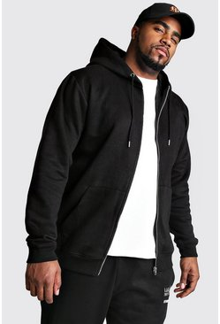 Black Plus Size Basic Zip Through Fleece Hoodie