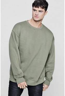 Oversized-Pullover aus Fleece, Khaki
