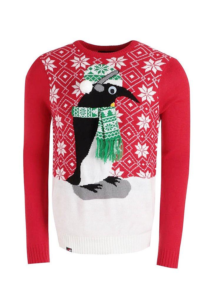 Pull de Noël pingouin yeux en 3D | boohoo