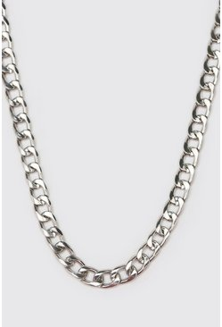 Short Length Plain Chain Necklace, Silver Серебряный