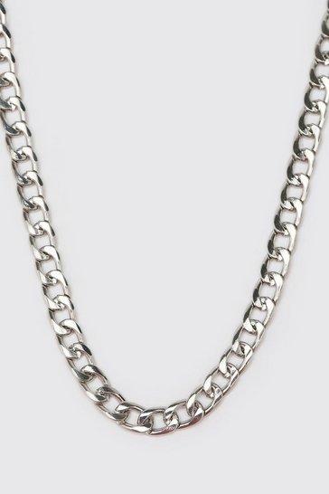 Silver Short Length Plain Chain Necklace