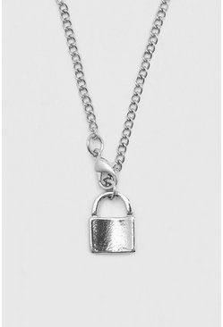 Chain Necklace With Padlock Pendant, Silver Серебряный