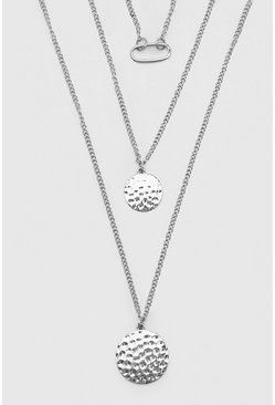 Triple Layer Multi Pendant Necklace, Silver Серебряный