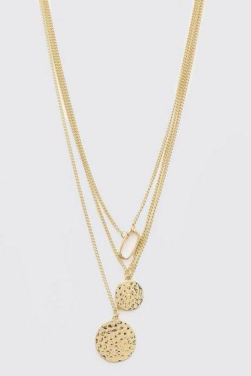 Gold metallic Triple Layer Multi Pendant Necklace