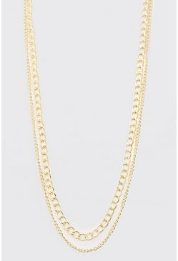 Double Layer Chain Necklace, Gold Металлик