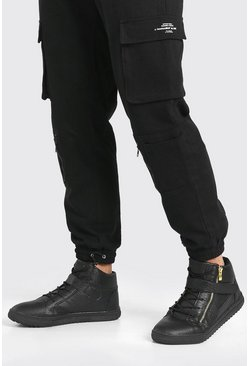 Faux Snake Zip High Top, Black nero