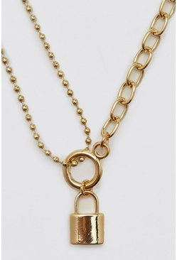 Padlock Necklace With Half Chain, Gold Металлик