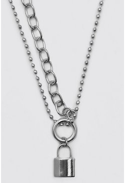 Silver Padlock Necklace With Half Chain